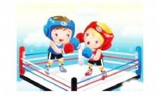 孩子拳击向量