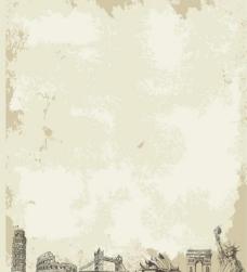 世界名胜牛皮纸背景矢量图图片