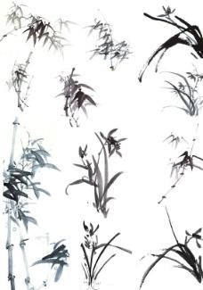 國畫蘭花竹子圖片