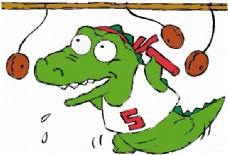 位图 卡通动物 鳄鱼 可爱卡通 文字 免费素材