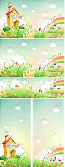 彩虹小屋唯美卡通背景矢量插图