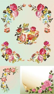 玫瑰花朵边角纹矢量素材