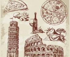 手绘建筑物和美食图片