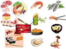 日本海鲜料理矢量素材