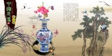 中国风展板挂画中国印象青花瓷兰花
