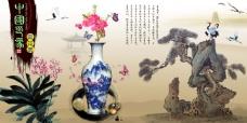 中国风展板挂画中国印象青花瓷花朵