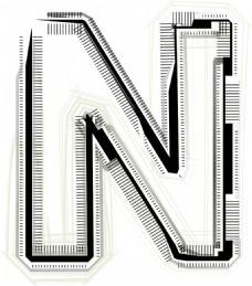 技术字体字母N