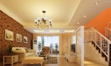 楼梯黄色客厅