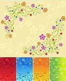 5款漂亮花卉背景矢量素材