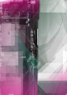 紫色灰色数码游戏背景设计psd分层素材