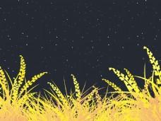 孤立的绿草夜间背景