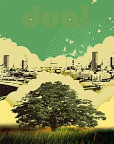 复古照片风格城市建设海报psd素材