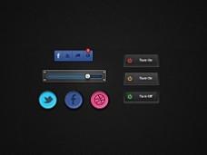 4款精致迷你button按钮psd素材