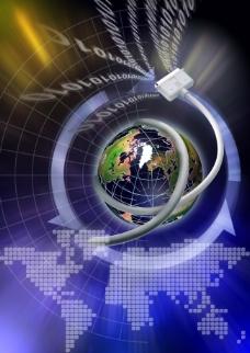 地球网络科技背景设计psd