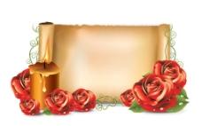 红玫瑰 欧式卷轴纸张图片
