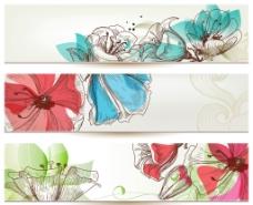 花卉横幅矢量图片