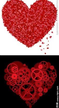 花瓣红心 齿轮红心矢量素材图片