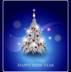 蓝色圣诞树图片