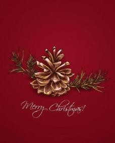 手绘松枝松塔 圣诞贺卡图片