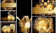 金色圣诞背景 香槟美酒图片