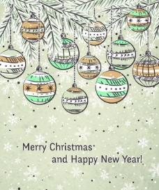 手绘圣诞球图片