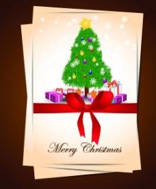 圣诞节蝴蝶结卡片图片