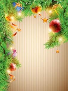圣诞节松树枝炫彩背景图片