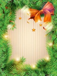 圣诞节松树枝边框背景图片