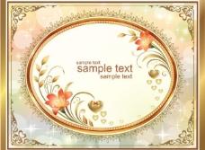 金色花纹边框 情人节背景图片