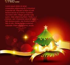 圣诞树蝴蝶结圣诞背景图片