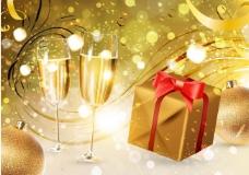 圣诞礼盒香槟美酒图片