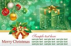 绿色礼盒圣诞背景图片