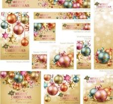 圣诞球圣诞节背景 横幅 展板图片
