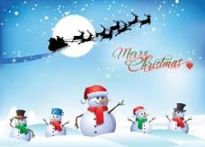 卡通雪人小鹿圣诞节背景图片
