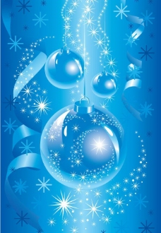 蓝色圣诞球圣诞背景图片