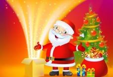 圣诞老人打开星光漫天的礼盒图片