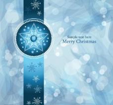 蓝色雪花花纹梦幻圣诞背景图片