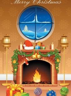 圣诞壁炉背景图片