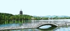 水粉西湖图片