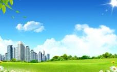 蓝天白云城市图片