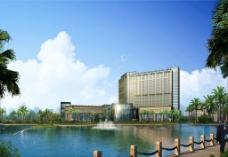湖边商业建筑大楼环境图片