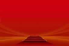 红色的阶梯海报封面背景模板设计