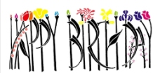 生日快乐字体设计 花图片