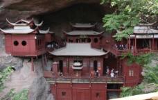 山水 崖壁上的寺庙图片