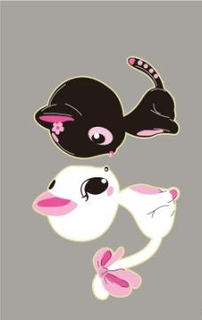 白猫黑猫图片