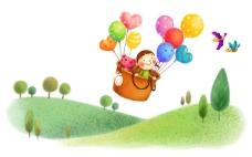 和小熊一起坐气球
