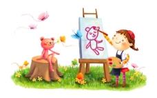 和小熊一起作画的女孩