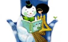 和雪人一起看书的女孩