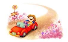 开车的小女孩
