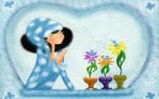 看着花朵的女孩
